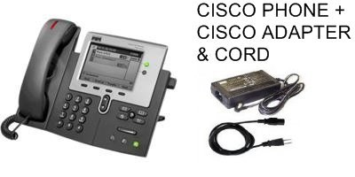 New Cisco 7941 SIP Phone w/AC Adapter: SIP Enabled CP-7941G Phone, Genuine Cisco AC Adapter (PWR-CUBE), Power (Cisco Sip Phones)