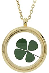 DaisyJewel Golden Luck Real Four Leaf Clover Floating Clover Locket