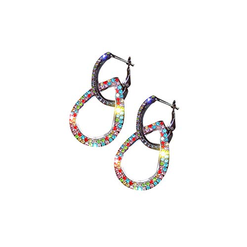 HYSGM Women Geometric Drop Shape Rhinestone Multicolor Earrings for Ladies Jewelry Gift (Silver) (The Right Hairstyle For Your Face Shape)