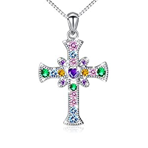 ❄Christmas Gifts❄ S925 Sterling Silver Cross Heart Pendant Necklace for Women Girl