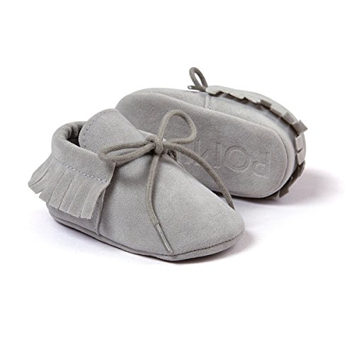 Auxma Moda Bebé niña cuna borlas vendaje suave único Casual zapatos niño Zapatillas gris