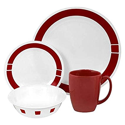 Corelle Livingware 16-Piece Dinnerware Set Service for 4 Urban Red  sc 1 st  Amazon.com & Amazon.com | Corelle Livingware 16-Piece Dinnerware Set Service for ...