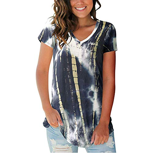DAYPLAY Women's Tops Tie Dye V-Neck Summer Casual Short Sleeve T-Shirt Top Blouse 2019 Womens Clothes Sale - Wool Gloves Motif