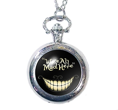 Steampunk We're All Mad Here Glass Dome Pocket Watch Necklace Big Mouth with Smiling Face Cheshire Cat Necklace (Silvery)