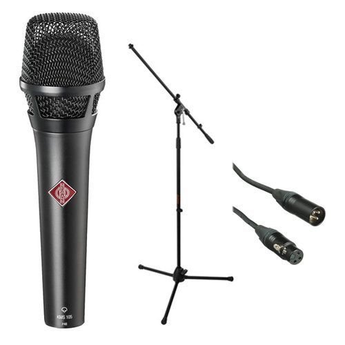 Neumann KMS 105 - Live Vocal Condenser Microphone (Black) With XLR Cable and Mic Stand ()