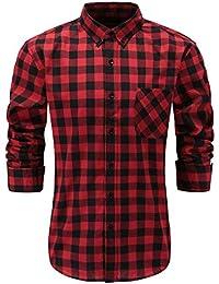 Men's 100% Cotton Regular Fit Long Sleeve Button Down Plaid Dress Shirt
