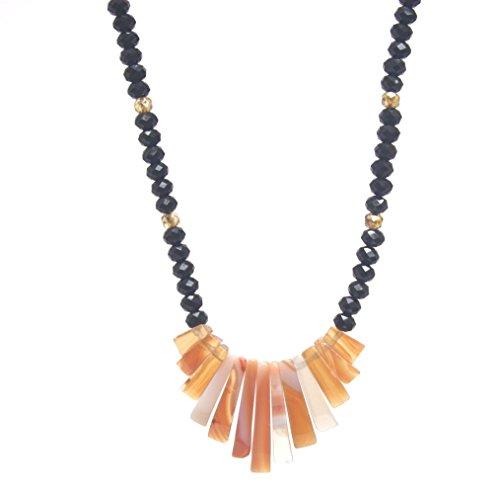 Red Line Agate Gemstone Pendant Necklace - Stick Bib Fan Pendant, Black & Golden Shadow Crystals, 17.5-in