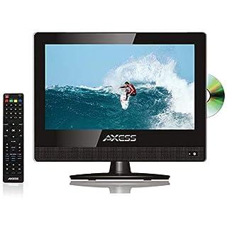 15.4 Inch Digital LED HD TV DVD Combo Wide HDTV ATSC NTSC Monitor, LCD w/Stand, HDMI, RCA, Component, USB, VGA, Coax, SD, AV, Audio, RF, Inputs, AC/DC, Wall Mountable Stereo Speaker Axess TVD-1805-15