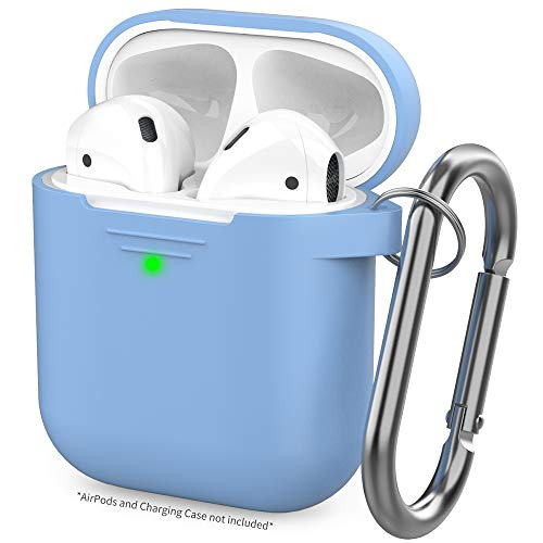 AHASTYLE Upgrade AirPods Case Protective Cover [Front LED Visible] Silicone Compatible with Apple AirPods 2 & 1(Sky Blue)