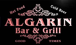 u00541-r ALGARIN Family Name Bar & Grill Cold Beer Neon Light Sign