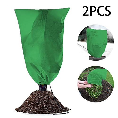 Yikor (3.3Ft X 5Ft) 2 PCS per Pack, Warm Worth Frost Blanket,Frost Protection Bag Reusable Plant Covers Bag for Winter, Frost Freeze Protection to Shrubs & Trees from Being Damaged or Bad Weather