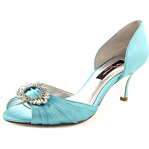 Satin Dress Tiff Nina Pump Crystah Blue LS Crystal Women's 8wqqRfZtU