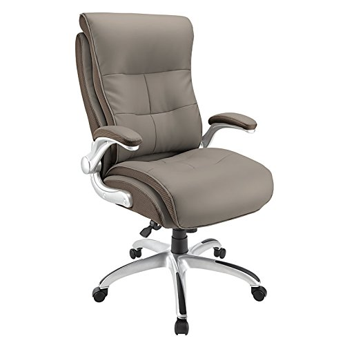 (Realspace Ampresso Big & Tall Bonded Leather High-Back Chair, Taupe/Silver)