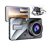 """JEEMAK 4"""" IPS Dash Cam Front and Rear for Cars FHD 1080P Backup Camera 170 Degree Wide Angle in Car Vehicle Driving DVR Recorder with G-Sensor Parking Monitor WDR Loop Recording Night Vision"""