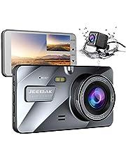 """Jeemak 1080P+720P Telecamera per Auto 4"""" IPS Dash Cam Doppia Lente FHD Grandangolare di 170 Gradi Auto Registratore DVR with G-Sensor Monitor di Parcheggio Registrazione in Loop WDR"""