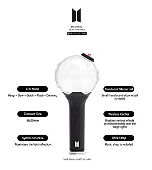 BTS Official Light Stick ver.3 + Idolpark Gift (Color: Black/White)