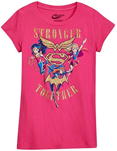 DC Comics Girls T-Shirt Wonder Woman Supergirl Batgirl Print (X-Large, Fuchsia)