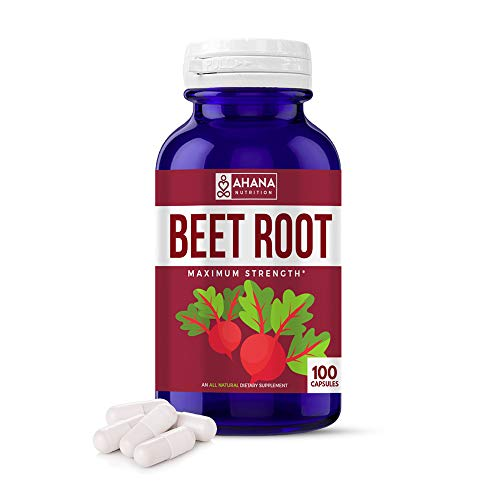 Pure Red Beet Root Powder Capsules by Ahana Nutrition - Natural Heart Health and Blood Pressure Supplement with Over 300mg of Beet Root Extract, 100 Count Bottle of Easy to Swallow Pills