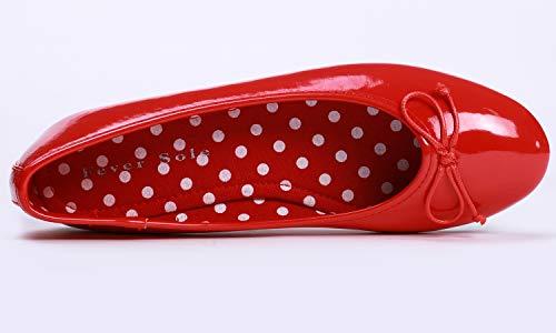 Round Flat Feversole À Pour Bout Ballet Polka Rond Rouge Femme ballerine Fashion Toe Women's rq4wx4XE