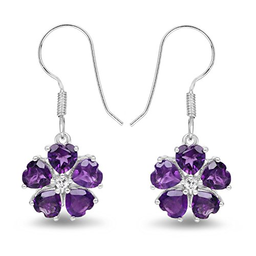 4.60 Carat Genuine Amethyst & White Topaz .925 Sterling Silver Heart Shape Earrings
