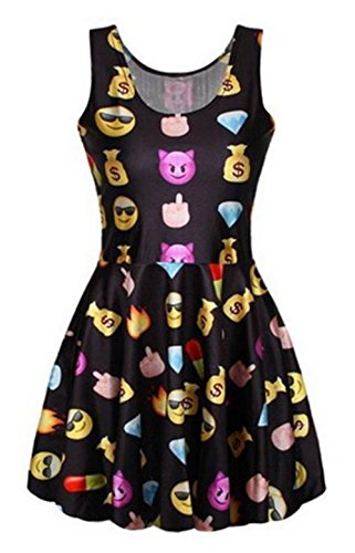Women's Emoji Smile Print Tank Pleated Knee-length Dress Black