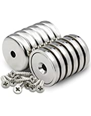 Cup Magnets with Countersunk Hole, Magnet with Screw, Industrial Strength Round Base Magnets, 60 lbs Holding Force, Pack of 12