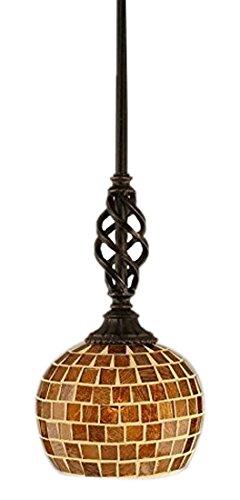 Toltec Lighting 80-DG-402 Elegante Mini Pendant with Hang Straight Swivel with 6″ Copper Mosaic Glass, Dark Granite Finish