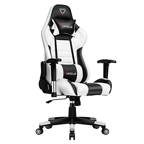 Furgle Gaming Chair Racing Style High-Back Office Chair with 3D Adjustable Armrests PU Leather Executive Ergonomic Swivel Video Game Chairs with Headrest and Lumbar Support (White & Black)
