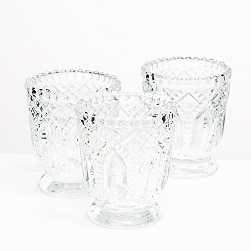 (Richland Votive Holder Clear Textured Glass With Base Set of 48)
