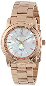 Invicta Women's 12624 Angel White Oyster Dial 18k Rose Gold Ion-Plated Stainless Steel Watch