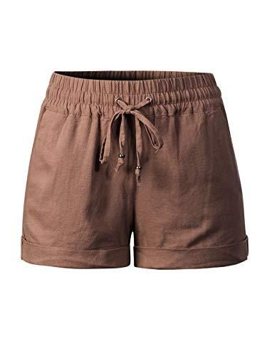 Design by Olivia Women's Drawstring Elastic Waist Casual Comfy Cotton Linen Beach Shorts Mocha 1XL