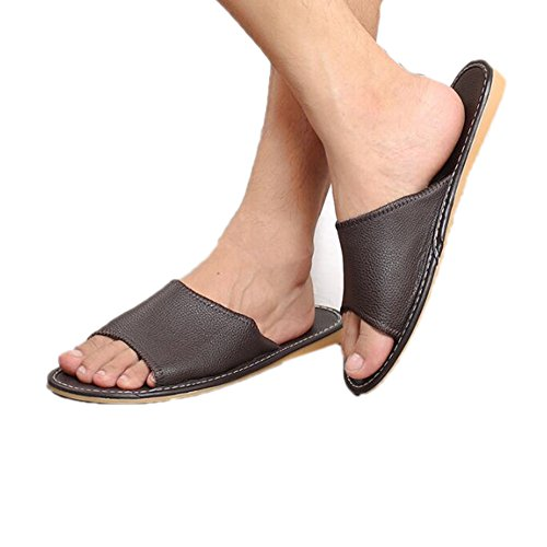 TELLW Autumn M Fonc¨¦ and Floor Wooden Leather Soft Slippers Super Light Fiber for Spring Women Brun Summer Men TrqrXwZ