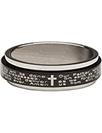 "<span class=""a-offscreen"">[Sponsored]</span>Lords Prayer with Cross Black & Silver Stainless Steel Spinner 1/8"" Ring (6)"