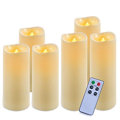 "Homemory Pack of 6 Waterproof Flameless Candles Set (Ivory,H 6""6""6""7""7""7"" x D 2.2"") - LED Flickering Pillar Candles with Remote and Timer - Outdoor Battery Operated Candles with Amber Yellow Light"