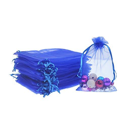 Lautechco 100Pcs Organza Bags 4x6 inches Royal Blue Organza Gift Bags Small Mesh Bags Drawstring Gift Bags Christmas Drawstring Organza Gift Bags (4x6 inches Royal Blue) (Blue Organza Gift)