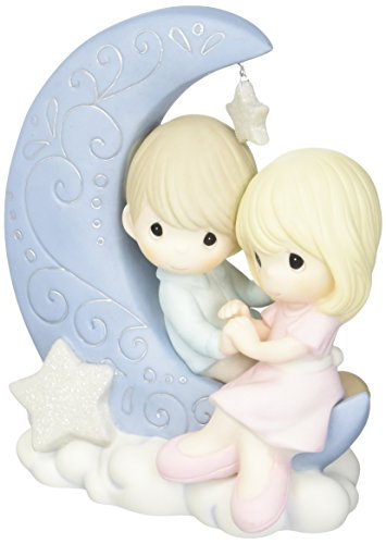 (Precious Moments 152016 I Love You To The Moon And Back Bisque Porcelain Figurine)