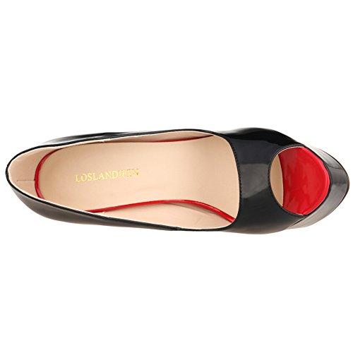 LOSLANDIFEN Womens Elegant Peep Toe Patent PU Leather Platform Stiletto High Heel Shoes Black FkdQ15