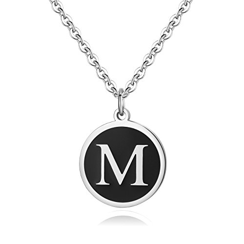 REVEMCN Stainless Steel Alphabet and Bible Verse Proverbs 4:23 Pendant Necklace for Men Women with Keyring and 22'' Chain (Silver-Tone: M) ()