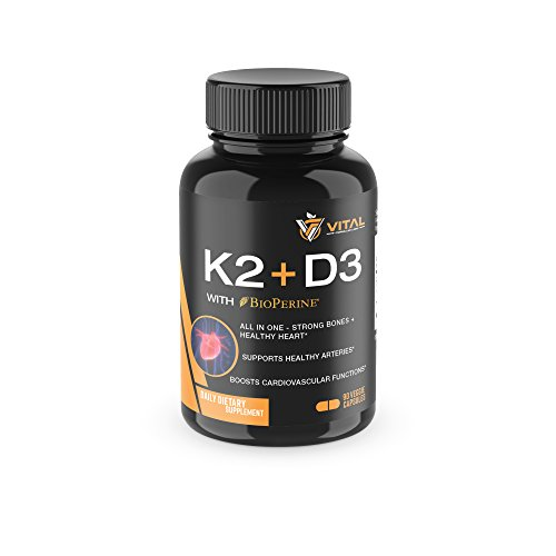 Vitamin K2 MK7 (100mcg) with Vitamin D3 (5000 IU) – 3-Months Supply of Vitamin D & K Complex for Healthy Heart and Strong Bones - 90 Veggie Caps with BioPerine® (Vitamin D3 Mk7)