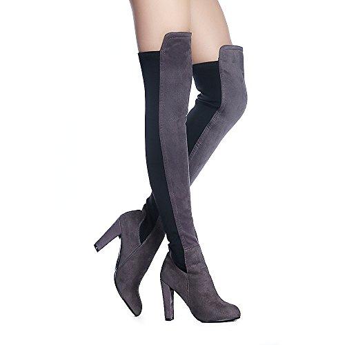 Shoe'N Tale Frauen Faux Wildleder Chunky Heel Stretch Overknee Oberschenkel Hohe Stiefel Grau