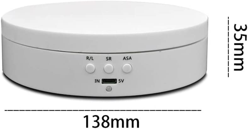 Alician USB Charging Rotary Display Stand Adjustable Rotating Speed Turntable Jewelry Holder White