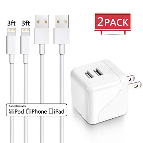 iPhone Charger, Xcords Dual Port Wall Charger Travel Adapter with 2Pack Lightning to USB Cable Charging Cord Compatible with iPhone XS MAX XR X 8 8Plus 7 7Plus SE 6sPlus 6s 6 5s, iPad iPod Nano
