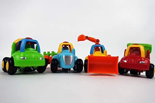 NBD Happy Singing Construction Trucks with Tractor, Bulldozer, Cement Mixer, Dump Truck, Toys for Girls and Boys 18 Months + Set of 4 Singing Trucks and Enlighten Any Toddler by NBD