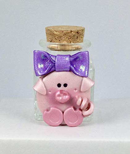 Purple Cutie Pig with Glittery Bow Handcrafted Polymer Clay Heavy Clear Glass Jar for Special Items ()