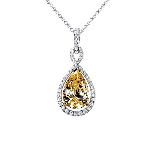 Luxury Temperament Pendant Necklaces for Women, Round Yellow Gem Necklaces, AAA Zirconia Crystals Pendant Necklace, Hypoallergenic, Fit with Wedding Dress, Party