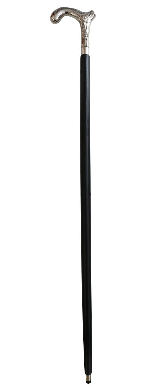 Bastone manico gancio a piedi in legno d'argento 98cm aubaho
