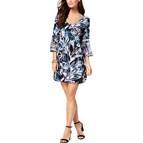 Connected Apparel Womens Petites Printed Bell Sleeves Party Dress Blue 8P