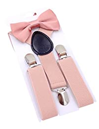 Panegy Kids Children's Clips Elastic Y-Shape Adjustable Suspenders and Matching Bow Tie Set- Flesh pink