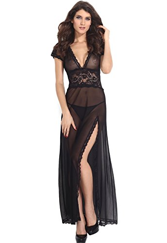 Amoretu Womens Sheer Lace V Neck Gown Dress Maxi Lingerie Set, Black,...