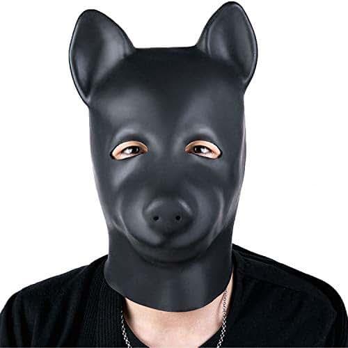 Natural Latex Head Mask Hood - Cosplay Headgear Mask Full Face Mask Nose Holes Breathable Unisex Halloween Masquerade Mask